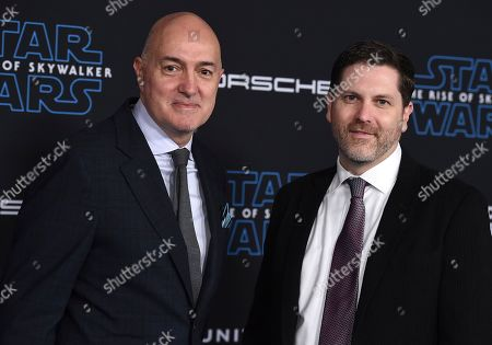 """Stock Picture of Roger Guyett, Patrick Tubach. Roger Guyett, left, and Patrick Tubach arrive at the world premiere of """"Star Wars: The Rise of Skywalker"""", in Los Angeles"""