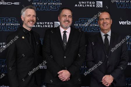 "Matthew Wood, David Acord, Christopher Scarabosio. Matthew Wood, from left, David Acord, and Christopher Scarabosio arrive at the world premiere of ""Star Wars: The Rise of Skywalker"", in Los Angeles"