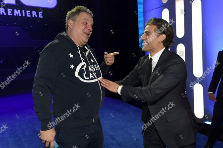 """Jeff Garlin, Oscar Isacc. Jeff Garlin, left, and Oscar Isacc arrive at the world premiere of """"Star Wars: The Rise of Skywalker"""", in Los Angeles"""
