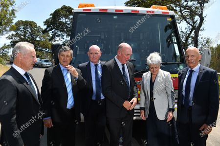 Stock Image of Emergency Leaders for Climate Action members (L-R) Greg Mullins, Lee Johnson, Peter Dunn, Mike Brown, Naomi Brown and Craig Lapsley speak at a media event in Sydney, Australia, 17 December 2019. Emergency Leaders for Climate Action is calling for a national summit to fill the 'leadership vacuum' left by the Morrison government. According to media reports, Australian authorities warned of 'worst possible circumstances' for bushfires in NSW as daytime temperatures are expected to exceed 40 degrees Celsius.
