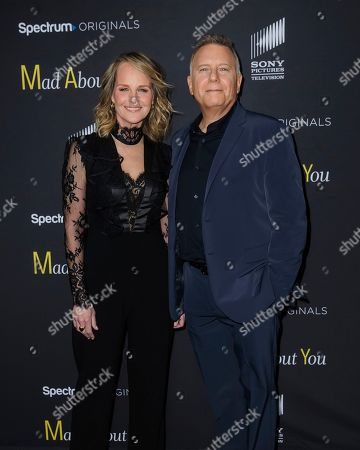 """Helen Hunt, left, and Paul Reiser attend the premiere of Spectrum Originals' """"Mad About You,"""" at the Rainbow Room, in New York"""