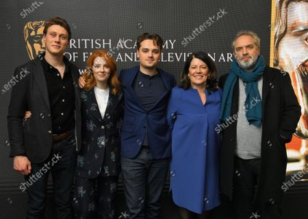 George MacKay, Krysty Wilson-Cairns, Dean-Charles Chapman, Pippa Harris and Sam Mendes