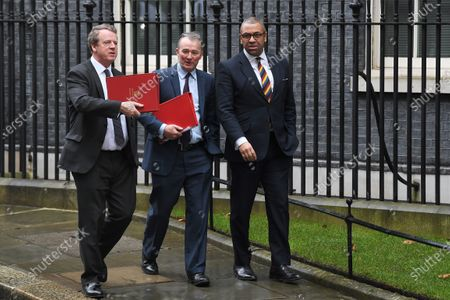 Alister Jack, Secretary of State for Scotland, Simon Hart, Secretary of State for Wales and James Cleverly, Conservative Party Chairman, leaving a cabinet meeting at No.10 Downing Street, London.