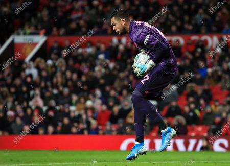 Manchester United goalkeeper Sergio Romero makes a save