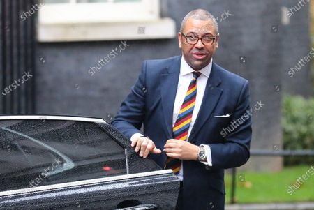 Minister without Portfolio James Cleverly arrives for the first meeting of the cabinet after the Conservatives won a majority in the 2019 General Election.