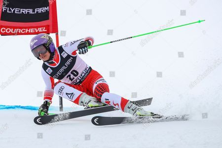 Austria's Anna Veith competes during an alpine ski, women's World Cup giant slalom in Courchevel, France