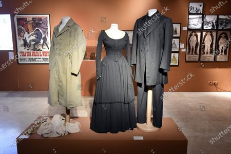 Costumes worn by actress Claudia Cardinale and actor Henry Fonda in the movie 'Once Upon a Time in the West ', 1968