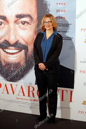 Pavarotti's widow Nicoletta Mantovani poses during the presentation of the documentary 'Pavarotti', in Madrid, Spain, 17 December 2019. The film was directed by US director Ron Howard.