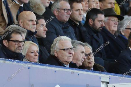 Stock Photo of Everton manager Carlo Ancelotti sits alongside Bill Kenwright and Farhad Moshiri