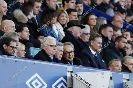 Stock Image of Everton manager Carlo Ancelotti next to Bill Kenwright and Farhad Moshiri in the directors box