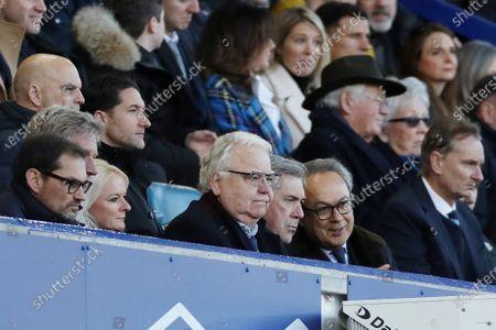 Everton manager Carlo Ancelotti next to Bill Kenwright and Farhad Moshiri in the directors box