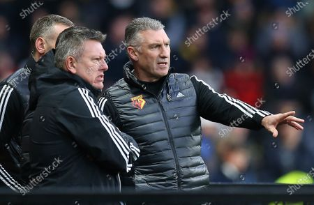 Nigel Pearson head coach of Watford and his assistant Craig Shakespeare