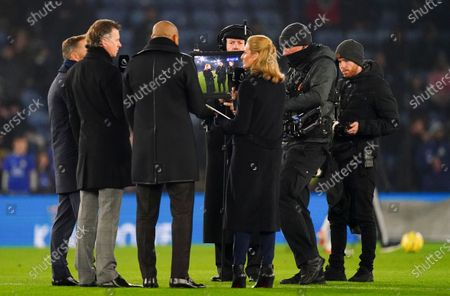 Stock Image of Gabby Logan with Lee Dixon and Steve McManaman on the pitch during the live Amazon Prime Sport broadcast before kick off