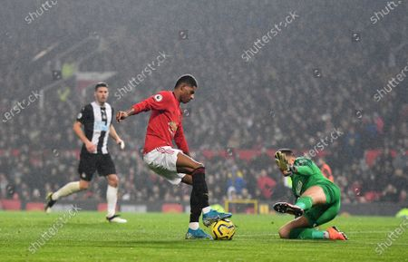 Stock Picture of Marcus Rashford of Manchester United and Martin Dubravka goalkeeper of Newcastle United