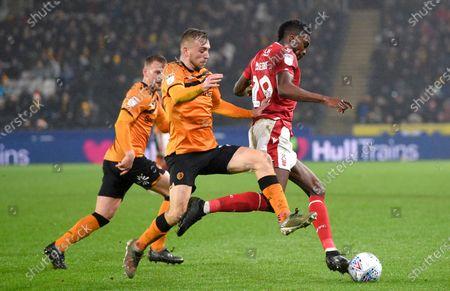 Stock Picture of Jarrod Bowen of Hull City chases Yohan Benalouane of Nottingham Forest