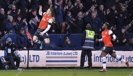 James Collins of Luton Town celebrates after scoring (2-1)
