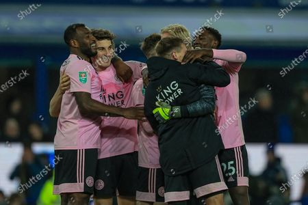 18th December 2019, Goodison Park, Liverpool, England; Carabao Cup, Everton v Leicester City : Kasper Schmeichel (1) of Leicester City and his team mates celebrate winning on penalties Credit: Mark Cosgrove/News Images