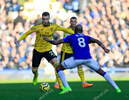 21st December 2019, Goodison Park, Liverpool, England; Premier League, Everton v Arsenal : Calum Chambers (21) of Arsenal tries to get past Fabian Delph (8) of Everton