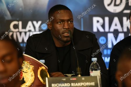 Richard Riakporhe during a Press Conference at the Leonardo Royal City Hotel on 17th December 2019