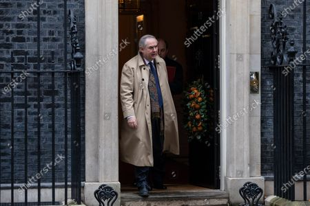 Attorney General Geoffrey Cox leaving Downing Street after attending a Cabinet meeting this morning.