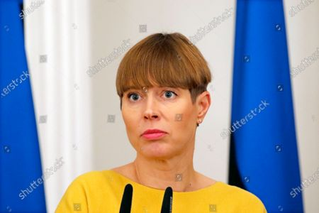 Estonian President Kersti Kaljulaid attends a press conference after a meeting with her Latvian and Lithuanian counterparts in Riga, Latvia, 17 December 2019. The three presidents discussed regional cooperation and security as well as the future of the European Union and the relations with neighboring countries.