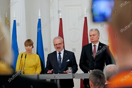 Latvian President Egils Levits (C), Estonian President Kersti Kaljulaid (L) and Lithuanian President Gitanas Nauseda hold a press conference after their meeting in Riga, Latvia, 17 December 2019. The three presidents discussed regional cooperation and security as well as the future of the European Union and the relations with neighboring countries.