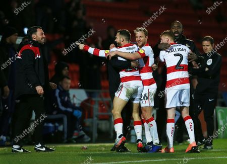 Stock Image of Jon Taylor of Doncaster Rovers celebrates scoring the opening goal