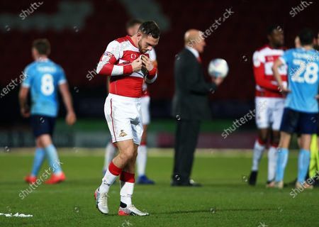 Stock Picture of Jon Taylor of Doncaster Rovers looks dejected at the end of the game