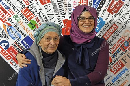Stock Image of Hatice Cengiz, 37, fiancee of late journalist Jamal Khashoggi who was kidnapped and killed during a visit to the Arabian consulate in Istanbul on Oct. 2018, gestures at the Foreign Press Association with Italian Senator Emma Bonino, left