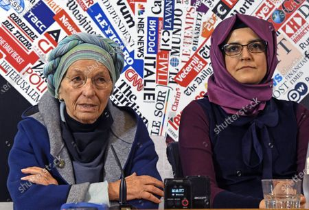 Hatice Cengiz, 37, fiancee of late journalist Jamal Khashoggi who was kidnapped and killed during a visit to the Arabian consulate in Istanbul on Oct. 2018, gestures at the Foreign Press Association with Italian Senator Emma Bonino, left