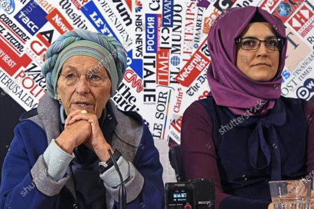 Stock Photo of Hatice Cengiz, 37, fiancee of late journalist Jamal Khashoggi who was kidnapped and killed during a visit to the Arabian consulate in Istanbul on Oct. 2018, gestures at the Foreign Press Association with Italian Senator Emma Bonino, left