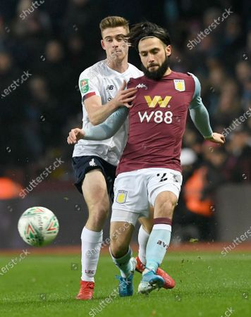 Liverpool's Tony Gallagher (L) and Aston Villa's Jota (R) in action during the English Carabao Cup quarter-final soccer match between Aston Villa and Liverpool at Villa Park in Brimingham, Britain, 17 December 2019.