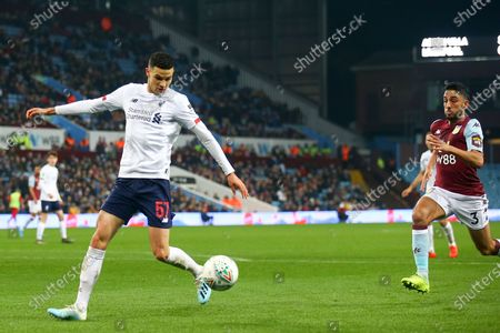 Isaac Christie-Davies of Liverpool (57) during the EFL Cup match between Aston Villa and Liverpool at Villa Park, Birmingham