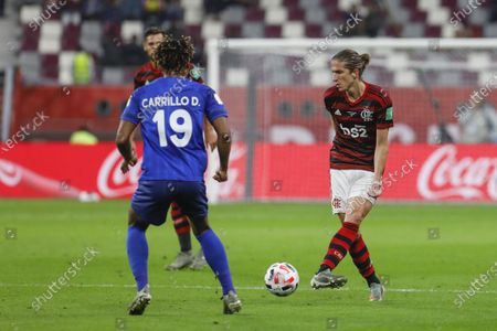Filipe Luis of Flamengo in action during the match
