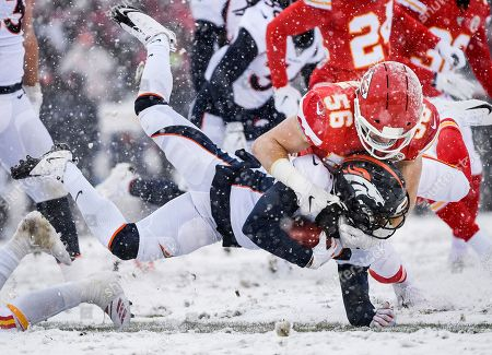 Diontae Spencer, Ben Niemann. Denver Broncos wide receiver Diontae Spencer (11) is tackled by Kansas City Chiefs linebacker Ben Niemann (56) a kick-off against the Kansas City Chiefs during the second half of an NFL football game in Kansas City, Mo