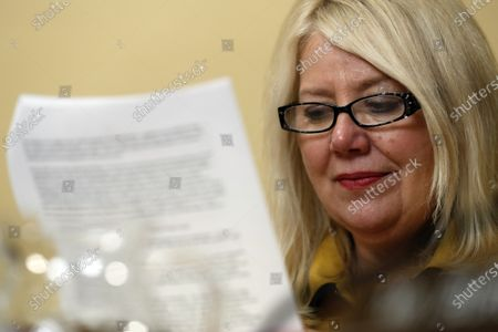 United States Representative Debbie Lesko (Republican of Arizona), reads during a US House Rules Committee hearing on the impeachment on Capital Hill