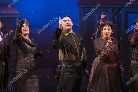 Rebecca Lock (Carmen), Jason Manford (Cioffi) and Leah West (Niki Harris) during the curtain call