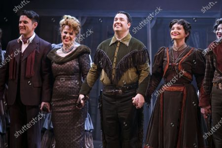 Samuel Holmes (Christopher Belling), Rebecca Lock (Carmen), Jason Manford (Cioffi) and Leah West (Niki Harris) during the curtain call