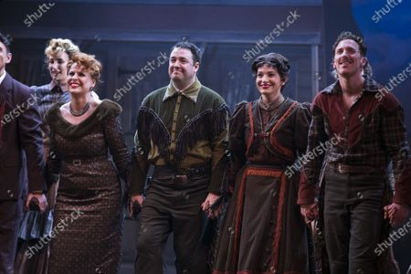 Rebecca Lock (Carmen), Jason Manford (Cioffi), Leah West (Niki Harris) and Alan Burkett (Bobby) during the curtain call