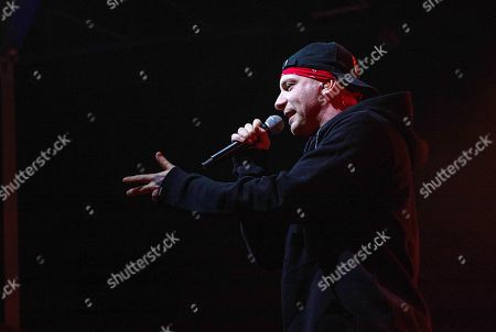The Italian rapper Clementino in concert during the 'Tarantelle Tour'.
