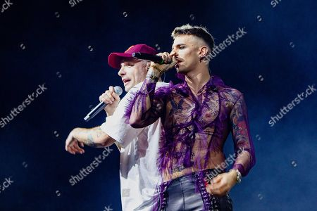 Support act Achille Lauro in concert with the Italian rapper Clementino (L) during the 'Tarantelle Tour'.