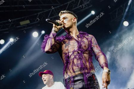 Support act Achille Lauro in concert during the 'Tarantelle Tour'.