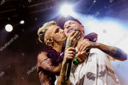Support act Achille Lauro in concert with the Italian rapper Clementino (R) during the 'Tarantelle Tour'.