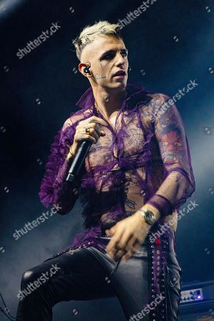 Stock Picture of Support act Achille Lauro in concert during the 'Tarantelle Tour'.