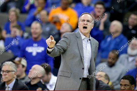 Oklahoma coach Lon Kruger calls instructions during the second half of an NCAA college basketball game against Creighton in Omaha, Neb