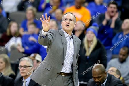 Oklahoma coach Lon Kruger calls instructions during the second half of an NCAA college basketball against Creighton game in Omaha, Neb
