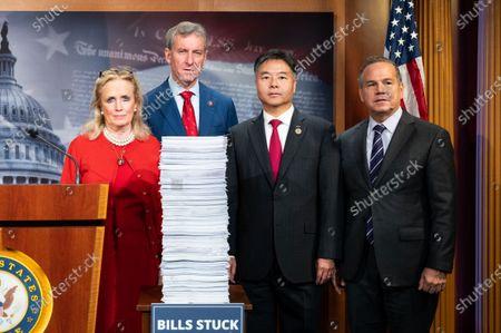U.S. Representatives Debbie Dingell (D-MI), Matt Cartwright (D-PA), Ted Lieu (D-CA) and David Cicilline (D-RI) attend a Democratic press conference on the U.S. Senator Mitch McConnell's (R-KY) legislative agenda.