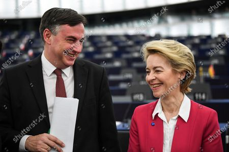 European Commission President Ursula von der Leyen  speaks with David McAllister, Member of Parliament from the EPP Group, before a debate at the European Parliament in Strasbourg, France, 18 December 2019. The European Parliament is in plenary session from 16 to 19 December 2019.