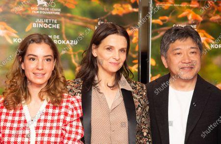 Manon Clavel, Juliette Binoche and Hirozaku Kore-eda