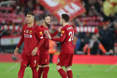 Roberto Firmino, Adam Lallana and Andy Robertson of Liverpool before kick-off